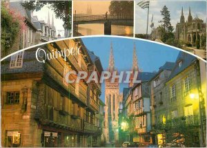 Modern Postcard Quimper The Kereon street and cathedral St Corentin