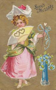 VALENTINE'S DAY; Love's Message, Girl wearing bonnet holding hand fan with go...