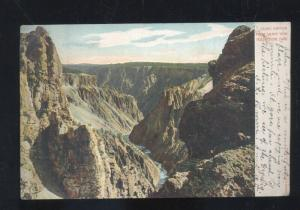 YELLOWSTONE NATIONAL PARK GRAND CANYON VIEW VINTAGE POSTCARD 1906 SUFFIELD