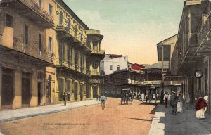 A Street View in Panama City, Panama,  Early Postcard, Unused