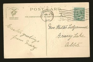 Postmarked 1911 Toronto Ont Best Easter Wishes Embossed Color Postcard