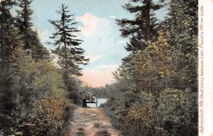 Lake Placid-Mirror Lake NY Man Leads Boat Carry w/Canoe on Dirt/Grass Rd c1910