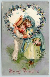 Winsch Valentine~Sailor Boy & Country Girl in Clock~Violets Heart~Silver Back