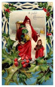 Santa Claus Red Robe ,  Little Girl , Toy Bag