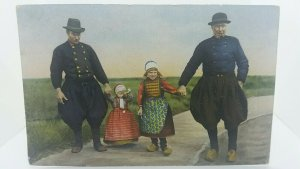Vintage Antique Postcard Two Dutch Girls With Dads in Traditional Clothing C1911
