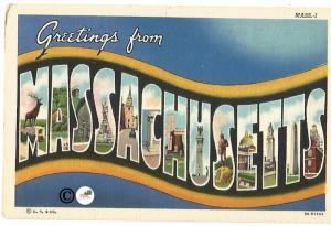 Vintage Linen Postcard Greetings from Massachusetts Curteich Curt Teich