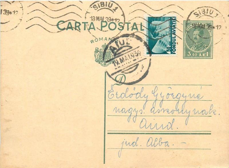 Romania 1939 Sibiu via Aiud Carol II uprated postal stationery postcard