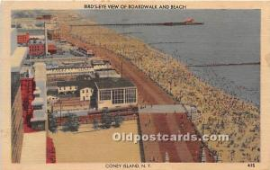 Amusement Park Postcard Post Card Bird's Eye View of Boardwalk and Beach...