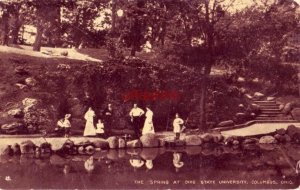 THE SPRING AT OHIO STATE UNIVERSITY, COLUMBUS, OH 1909 a group at edge of pond