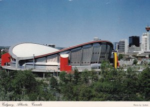 CALGARY, Alberta, 1950-1960s; Calgary City Center with Saddledome