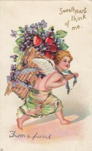 VALENTINE´S DAY, PU-1907;  Cupid carrying basket of hearts & flowers