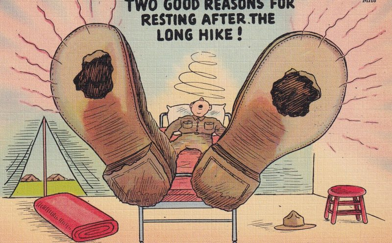 COMIC; 1930-1940s; Two Good Reasons For Resting After The Long Hike!