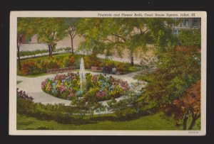 Fountain & Flower Beds Court House Square Joliet, IL - 1940s - Unused