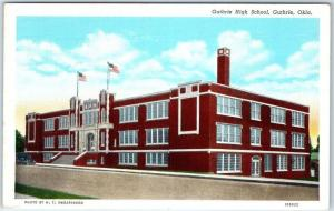 Guthrie, Oklahoma Postcard GUTHRIE HIGH SCHOOL Street View Curteich Linen c1940s