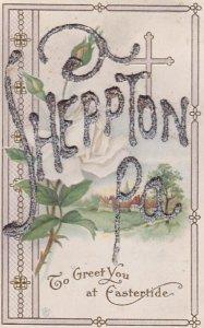 EASTER, 1900-10s; SHEPPTON, Pennsylvania embossed glitter, Cross, Country Scene
