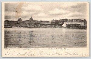 Clear Lake Iowa~Pleasure Pier~Trolley Stops at Boat Landing~Sailboat~1907 B&W PC