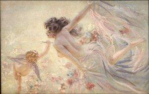 Beautiful Semi Nude Ethereal Woman Fantasy ARTIST? Postcard Series 1030-4