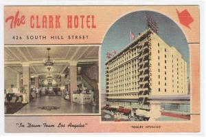 Clark Hotel South Hill Street Los Angeles California linen postcard