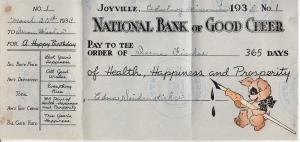 Hallmark 1938 Bank Check Greeting Card