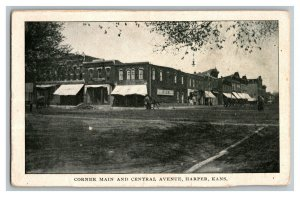 Corner Main and Central Avenue Harper Kansas Vintage Standard View Postcard