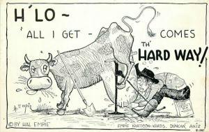 Cow Milking 1940s Hal Empie Postcard Western Comic Humor 3337