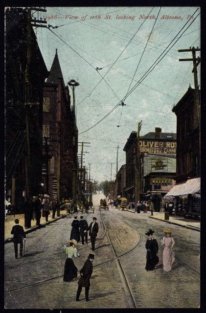 Early 20th c. people, horse cart & trolley tracks on st. in Altoona PA color pc