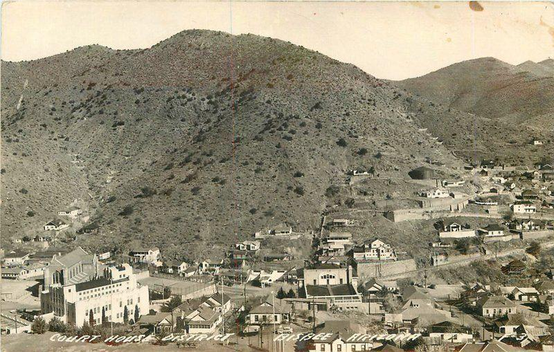 Aerial View Bisbee Arizona Court House District 1940s RPPC real photo 9089 Cook