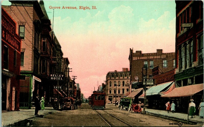 Vtg Postcard Elgin Illinoiis IL Grove Avenue Street View Kelley Hotel - V & Sons
