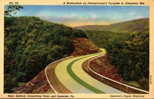 Pennsylvania Turnpike Scene Near Bedford Grandview Point and Somerset 1949 Cu...