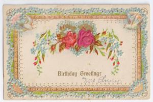 Vintage Birthday Postcard One Small Silk Rose Doves Embossed