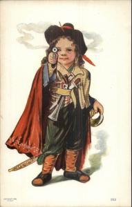 Little Swashbuckler Pirate Boy Pointing Pistol J. TULLY c1910 Postcard