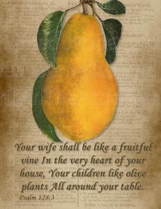 Single Fine Art Postcard, Psalm 128:3 Your wife shall be like a fruitful vine..