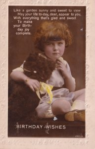 Brown Teddy With Yellow Scarf Birthday Greetings RPC Postcard