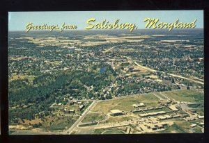 Salisbury, Maryland/MD Postcard, Aerial View Of Community, Business District
