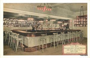1920s Interior Bar Gallagher's Steak House Lumitone Photoprint postcard 2233