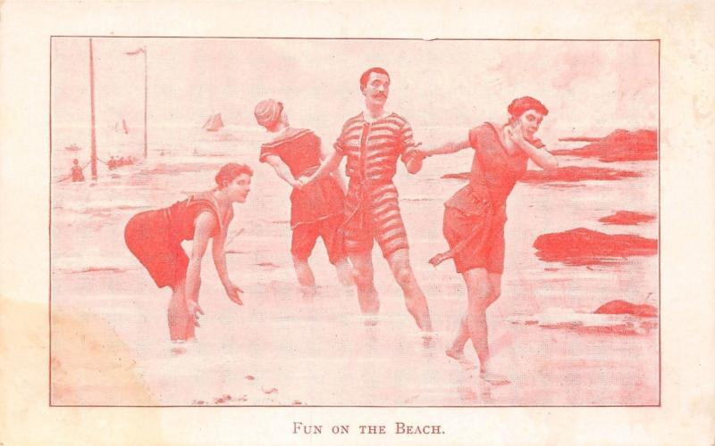 Vintage Bathing Beauties & Bum~Fun on the Beach~Man in Striped Suit~1905 PC
