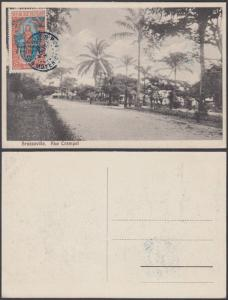 French Equatorial Africa 1920s Used stamp on postcard ( Brazzaville )