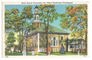 VA Alexandria Christ Church Where Washington Worshipped Vtg Linen Postcard