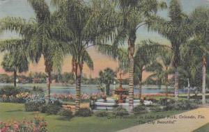 Florida Orlando Fountain in Lake Eola Park The City Beautiful 1947