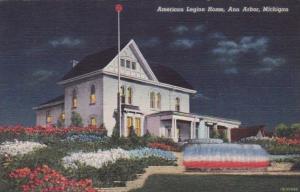 Michigan Ann Arbor American Legion Home At Night Curteich