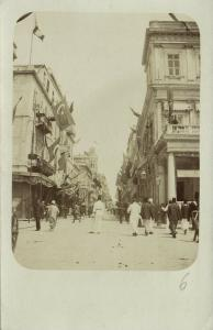 ottoman egypt, ALEXANDRIA ?, Unknown Street Scene with Turkish Flags (1899) RPPC