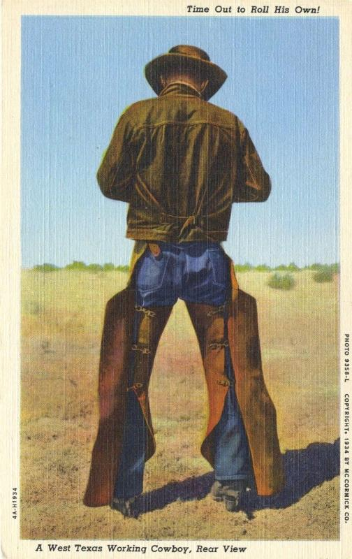 West Texas Working Cowboy Rear View Rolling Cigarette Vintage Linen Postcard E1