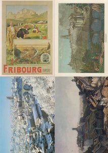 Fribourg Switzerland 4x Painting Winter Poster Postcard s