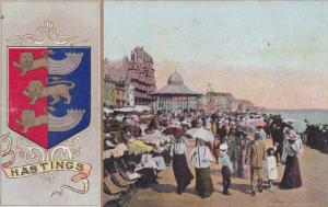 HASTINGS, Sussex, England, 1900-1910's; Coat Of Arms, Scene On The Beach