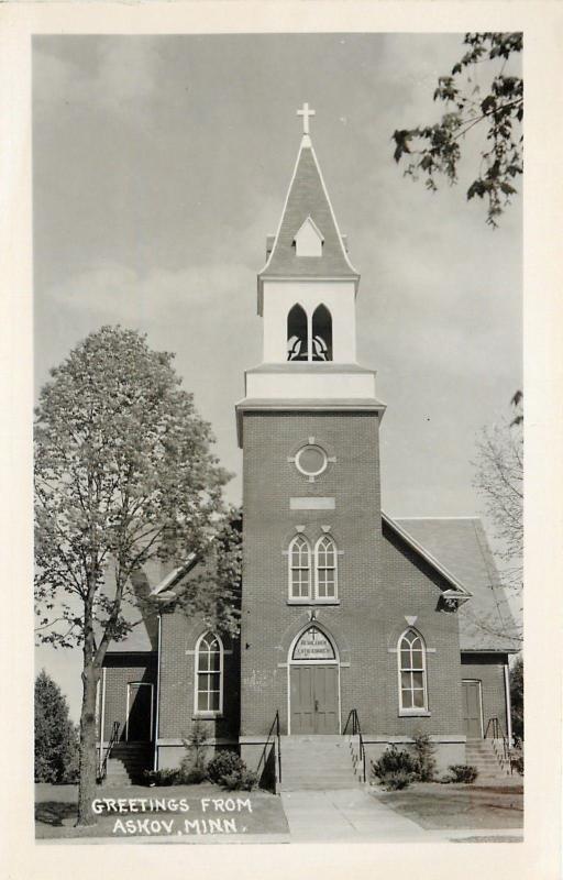 Askov Minnesota~Real Photo Postcard Bethlehem Lutheran Church & Belltower~c1950