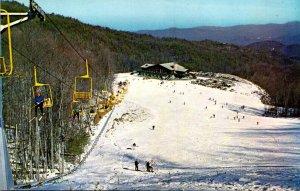 Tennessee Gatlinburg Ski Resort Chair Lift & Base Lodge Seen From Intermediat...