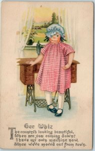 Gartner & Bender Postcard GEE WHIZ Rag Doll Sewing Machine Toys 1916 Cancel