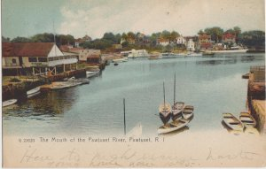 PAWTUXET RI - MOUTH OF THE PAWTUXET RIVER + HOMES + BOATS / 1911
