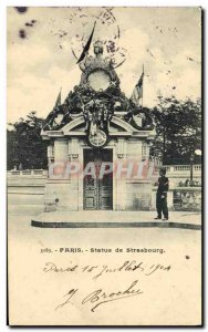 Old Postcard Paris Statue of Strasbourg