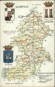 Spain Region Road Map & Heraldic Series c1910 Postcard ALEMTEJO